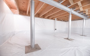 Crawl space structural support jacks installed in Newark Valley