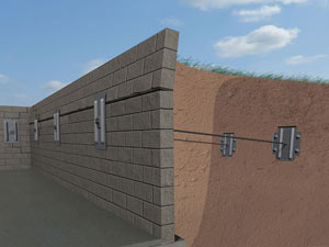 A graphic illustration of a foundation wall system installed in Delhi
