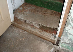 A flooded basement in Groton where water entered through the hatchway door