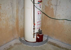 A water heater in Trumansburg that's been protected by the FloodRing® and a perimeter drain system.