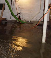 Several feet of floodwaters in a Freeville basement