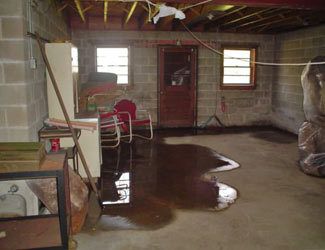 a flooded basement floor in a Unadilla home