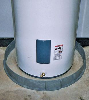 An old water heater in Groton, NY with flood protection installed