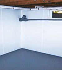 Plastic basement wall panels installed in a Lansing, New York home