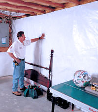 Plastic 20-mil vapor barrier for dirt basements, Lansing, New York installation