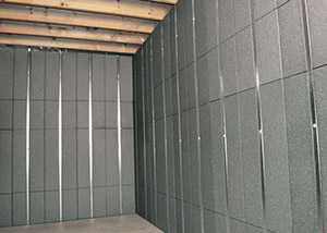 SilverGlo™ insulation and metal studs making up our Basement to Beautiful panels.  Installed in Johnson City.