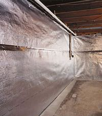 Radiant heat barrier and vapor barrier for finished basement walls in Lansing, New York